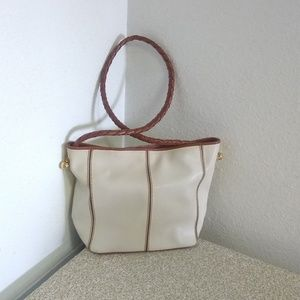 Bottega Veneta Ivory Brown Leather Bag